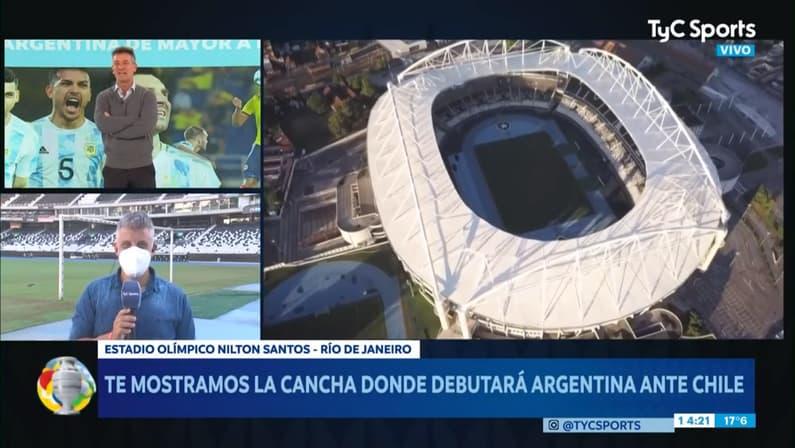 TyC Sports, da Argentina, visita o Estádio Nilton Santos, do Botafogo, para falar sobre a Copa América