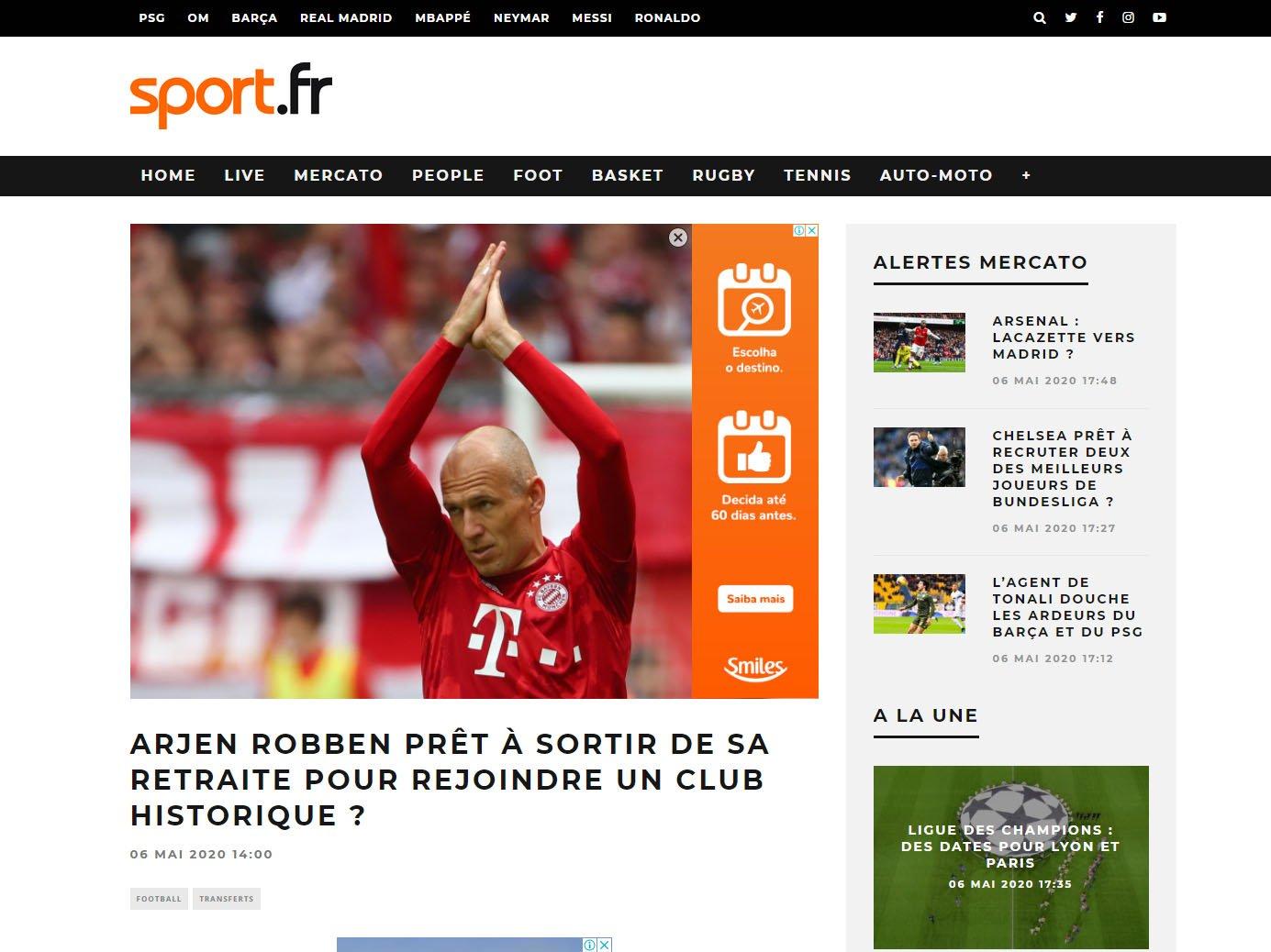 Sport, da França, repercute interesse do Botafogo na contratação de Robben