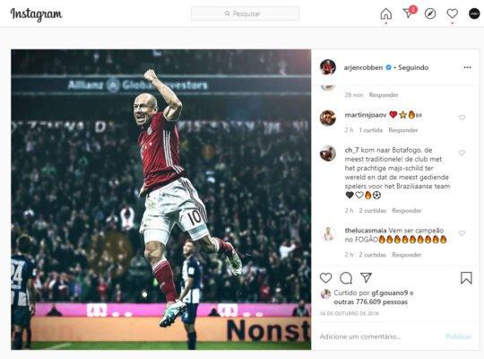 Torcida do Botafogo invade redes sociais de Robben e se arrisca até no idioma holandês
