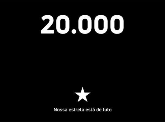 Botafogo presta homenagem aos mais de 20 mil mortos pela covid-19 no Brasil