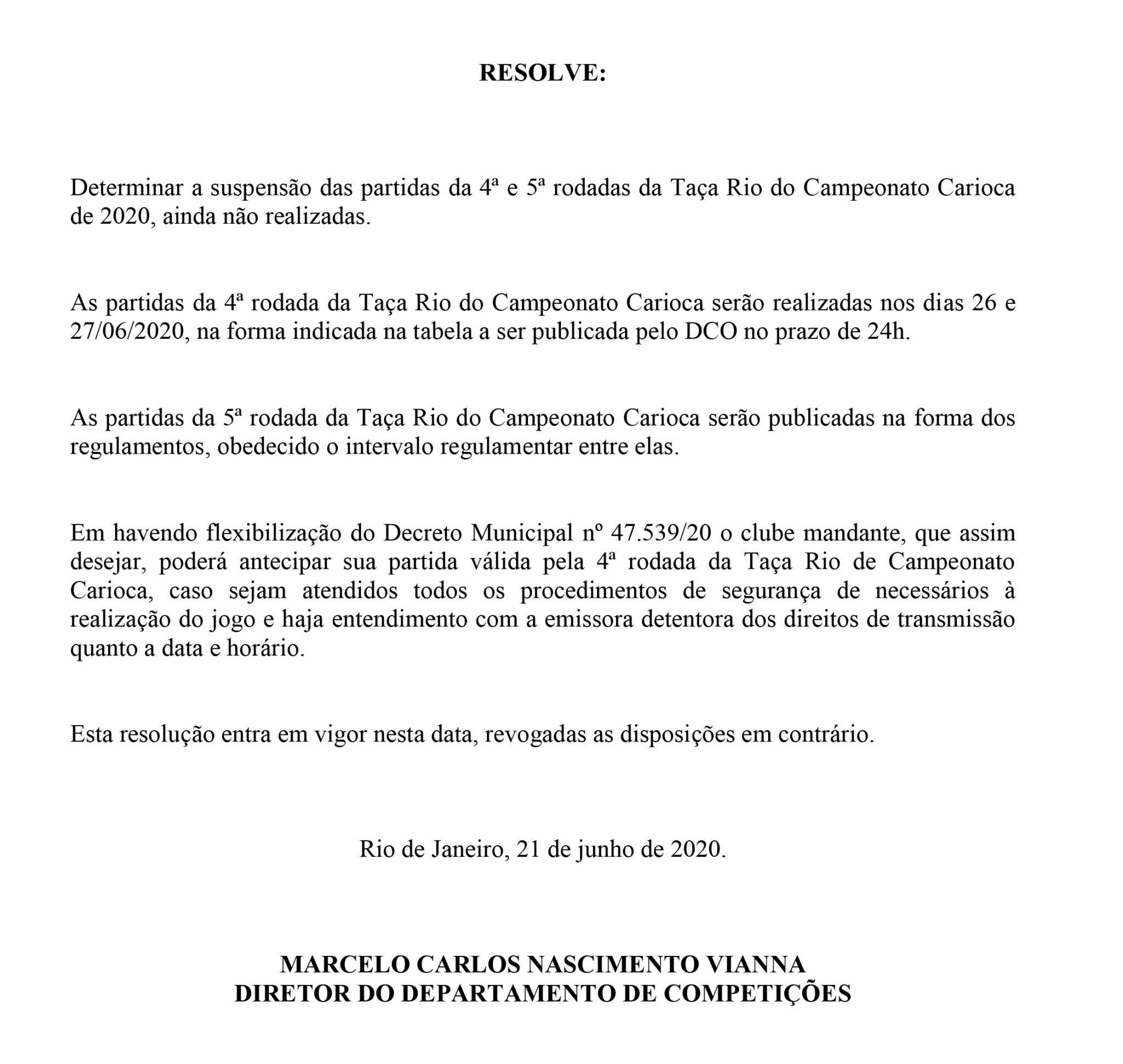 Resolução da Ferj suspende jogos da Taça Rio do Campeonato Carioca após decreto de Marcelo Crivella
