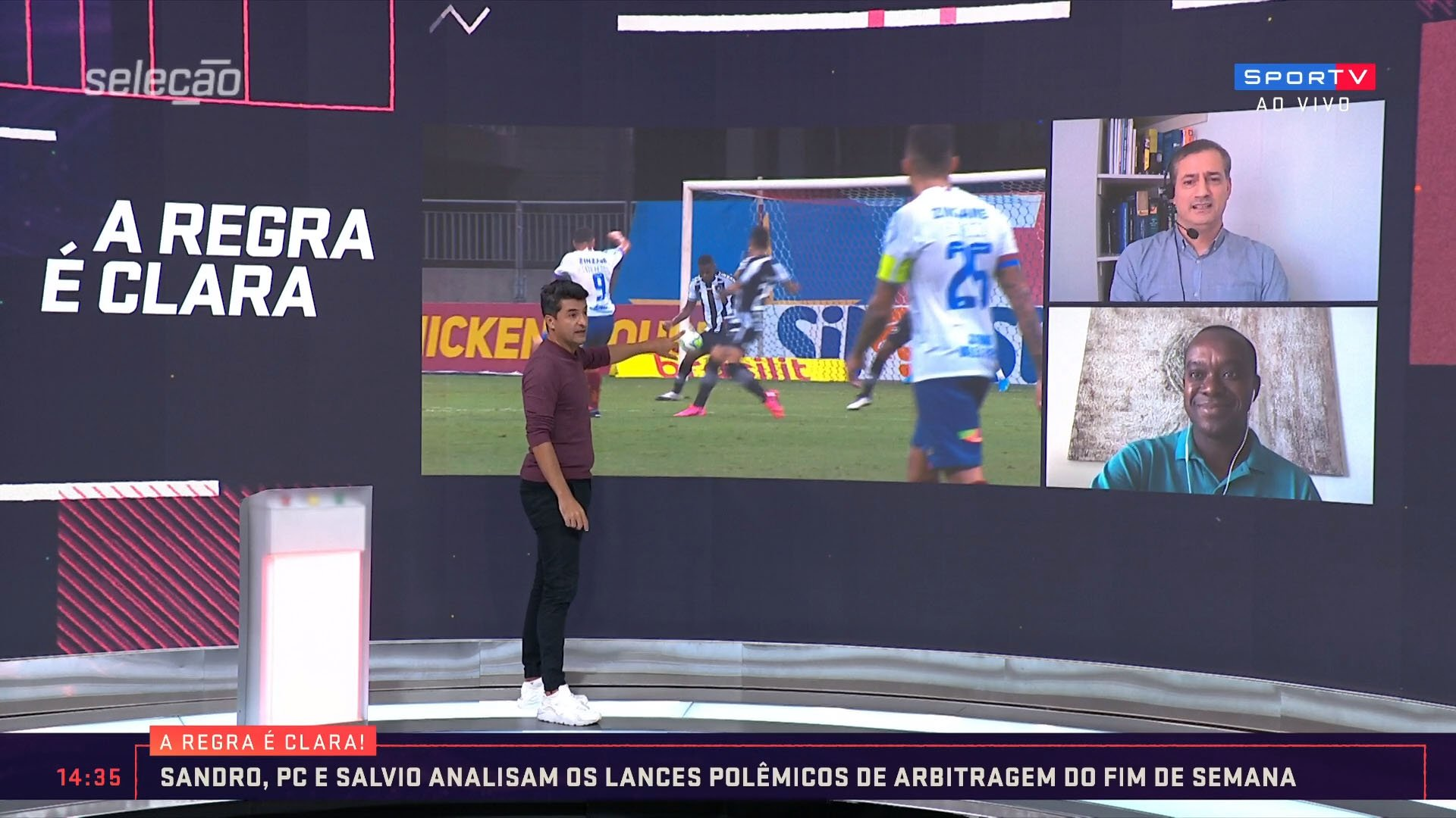 Sandro Meira Ricci, Sálvio Spínola e Paulo César Oliveira analisa pênalti em Bahia 1x0 Botafogo