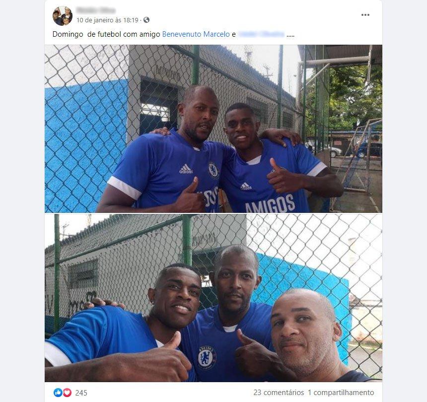 Marcelo Benevenuto em fotos participando de uma pelada em Resende, no mesmo dia de Vasco 3x0 Botafogo