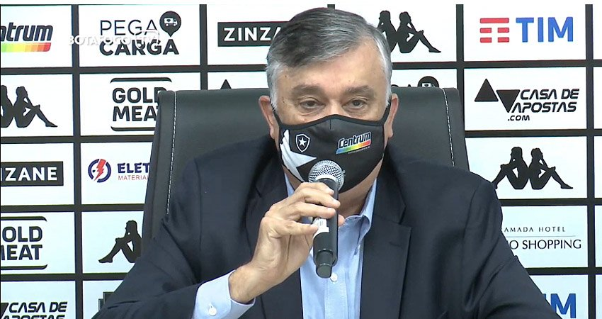 Durcesio Mello na apresentação de Marcelo Chamusca como técnico do Botafogo