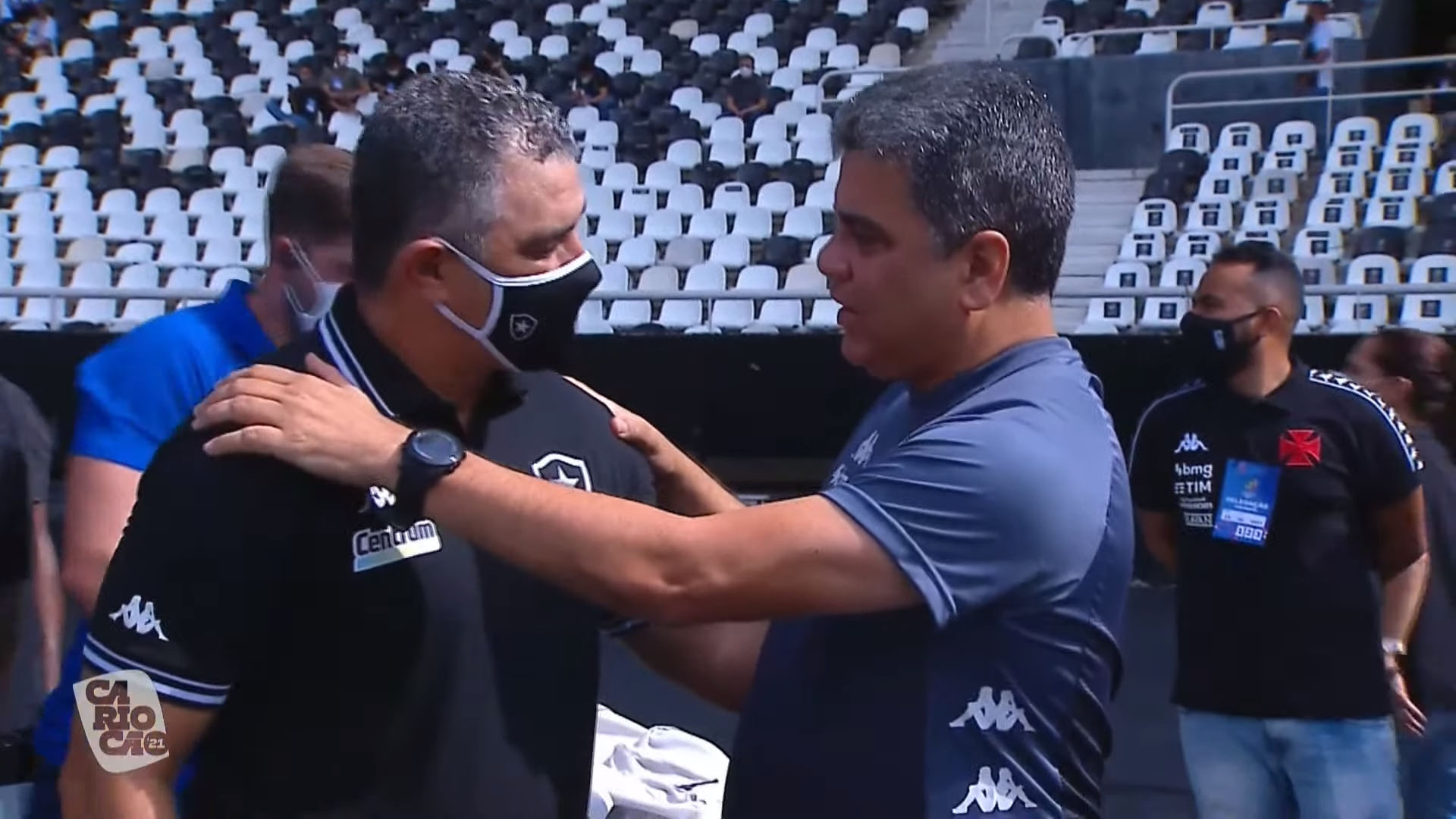 Marcelo Chamusca e Marcelo Cabo - Botafogo x Vasco