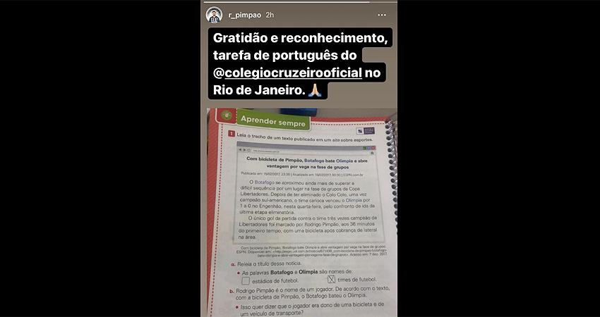 Gol de bicicleta de Rodrigo Pimpão pelo Botafogo na Libertadores de 2017 vira exercício de português no Colégio Cruzeiro